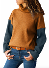Womens Roll Neck Ribbed Jumper • Mustard and Navy
