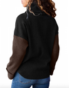 Womens Ribbed Roll Neck Jumper • Black and Brown