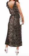 Womens V Neck Maxi Dress • Leopard Print