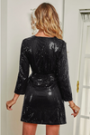 Womens Black Sequin Wrap Dress
