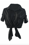 Womens Satin Look Button Up Shirt