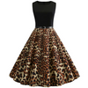 Womens 1950's Retro Sleeveless Rockabilly Pinup Swing Dress • Leopard