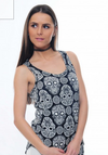 Mexican Sugar Skull All Over Anthracite 100% Cotton Vest Top