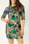 Sequin Leaf Bodycon Dress • Green