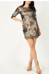 Sequin Leaf Bodycon Dress Bronze