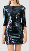 Two Tone Sequin Dress • Black/ Blue Tones