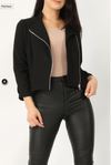 Crepe Biker Jacket • Black
