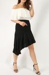 women's Stretchy Soft Fabric Ruffle Skirt Ruffle Asymmetric Midi Skirt BLACK Asymmetrical Asymmetric Frill Hem