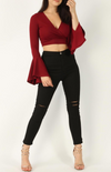 Wrap Cropped Frill Top • Wine