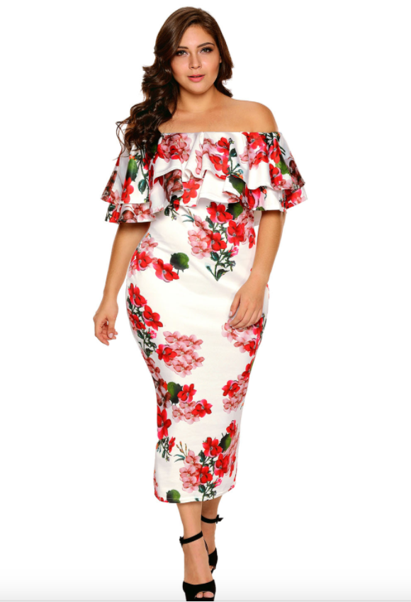 b997dcd708e Plus Size • Floral Off Shoulder Ruffle dress