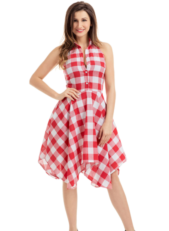 39fbc576a665f Details about NEW Flared Shirt Dress   Red and White Check Women s Dresses