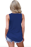 Womens  Plus Size Blue Tank Top