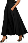 women's Retro High Waist Pleated Belted Maxi Skirt High Waisted Flared Skirt High Waisted Flared skirt BLACK