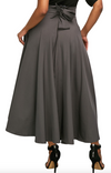 women's Retro High Waist Pleated Belted Maxi Skirt High Waisted Flared Skirt Grey Flared skirt Chiffon Flared Skirt 95% Polyester 5% Spandex