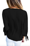 Womens Black Chiffon Blouse with Scarf