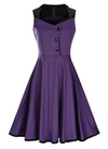 Womens Vintage Style Dress • Purple with Black Trim • Plus Size