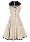 Womens Vintage Style Dress • Cream with Black Trim • Plus Size