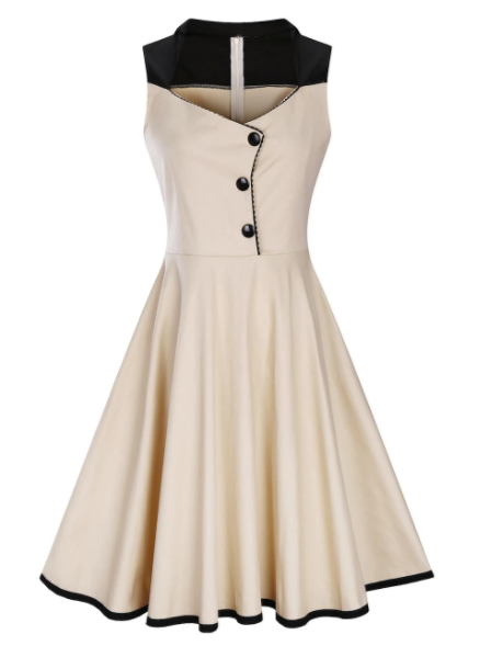 25e6061811 Vintage Style Dress plus size dress plus size Flared skirt Fitted Bodice  Cream with black trim