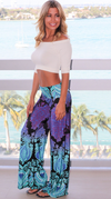 Palazzo Pants • Aqua and Purple Print