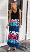 Maxi Skirt • Coloured Tendril Print