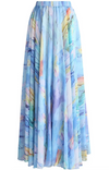Chiffon Maxi Skirt • Ethereal Tulip Watercolour