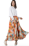 watercolour Maxi Skirt Skirt chiffon floral Peach Floral Chiffon Flared Skirt Alt finery