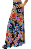 Flared Hem Maxi Skirt • Vibrant Coloured Boho Print