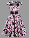 Womens Vintage Style Dress • Pink Rose • Plus Size