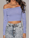Womens Blue Striped Crop Top