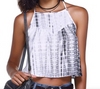 Tie Dye Cross over top Singlet Crop top camisole Tie dye Camisole Grey and White