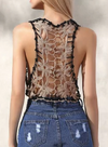 Womens Crotchet Lace Crop Top