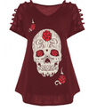 Womens Plus Size Sugar Skull T Shirt