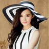 Sun Hat • Wide Brim with Black and White Stripes