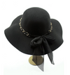 Boho Hat 70s Style Hat Hat with Gold Chain band Black felt hat Sun Hat Hat Felt Hat Black Hat BLACK Alt finery 70s Style felt Brim Hat
