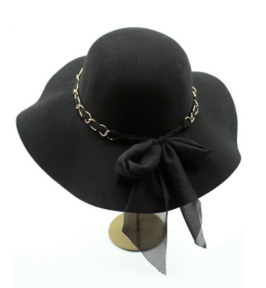 9562ad2848e Boho Hat 70s Style Hat Hat with Gold Chain band Black felt hat Sun Hat Hat