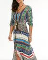 Womens Maxi Dress •  Boho Print with High Slit