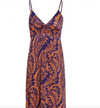 Womens Maxi Dress • Navy and Orange Print