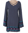 Womens Boho Mini Dress • Navy Blue Print