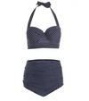 intage style bikini summer Polka Dot Bikini Plus Size Bathers Navy with white polka dot Moulded Cup bathers High waisted bather pants Halter top bathers Bathers Daylesford