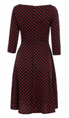 slash neck Bow womens dress dress 3/4 sleeves retro vintage red and black Wine red Polka dot women's Women