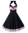 Womens Vintage Style Halter Neck Dress • Polka Dot Print