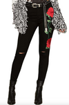 Rose Embroidered Black Jeans Women