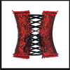 Womens Lace Up Corset • Red and Black Brocade