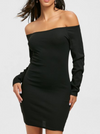 Womens Off Shoulder Bodycon Dress • Black