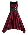 Womens Vintage Style Dress • Wine Red Lolita Style • Plus Size
