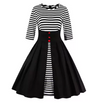 Vintage Style Dress • Black with Stripes • Plus Size