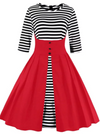 Womens Vintage Style Dress • Red with Stripes • Plus Size