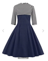 Womens Vintage Style Dress • Navy with Stripes • Plus Size