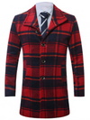 Mens Tartan Wool Coat • Red and Black