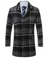 Mens Tartan Wool Coat • Grey and Black